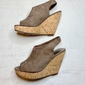 Carlos Santana Wedge Tan Peep Toe Sandals